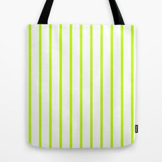 Vertical Lines (Lime/White) Tote Bag