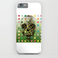 Op Art Skull With Multi-coloured Dots iPhone 6 Slim Case