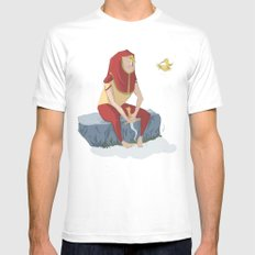 henon and his bird Mens Fitted Tee SMALL White
