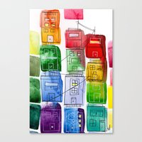 Rainbow Village 1 Canvas Print