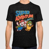 Super Adventure Bros Mens Fitted Tee Tri-Black SMALL