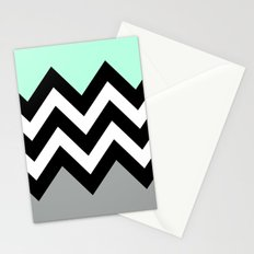 DOUBLE COLORBLOCK CHEVRON {MINT/BLACK/GRAY} Stationery Cards