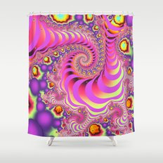 Colourful spiral motion, fractal abstract art Shower Curtain