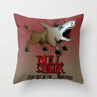 Bull Shark Version 2 Animal Series by RonkyTonk Throw Pillow