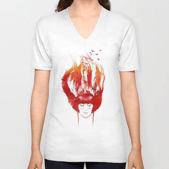 Burning Forest V-neck T-shirt