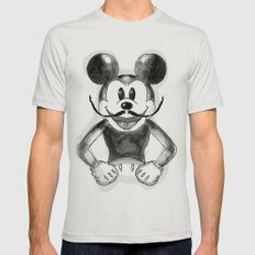 Hey Mickey Mens Fitted Tee Silver SMALL