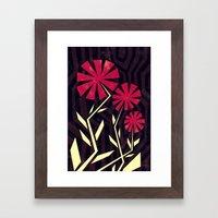 Red Flowers On Wood Framed Art Print