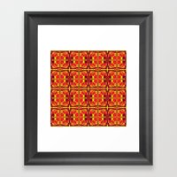 Red and Yellow Cross Pattern Framed Art Print