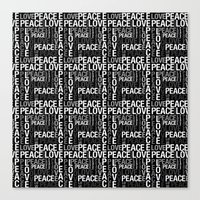 Peace Love Typography Canvas Print