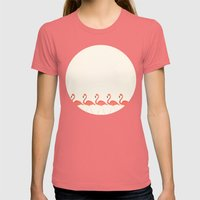 Flamingo Lineup Womens Fitted Tee Pomegranate SMALL