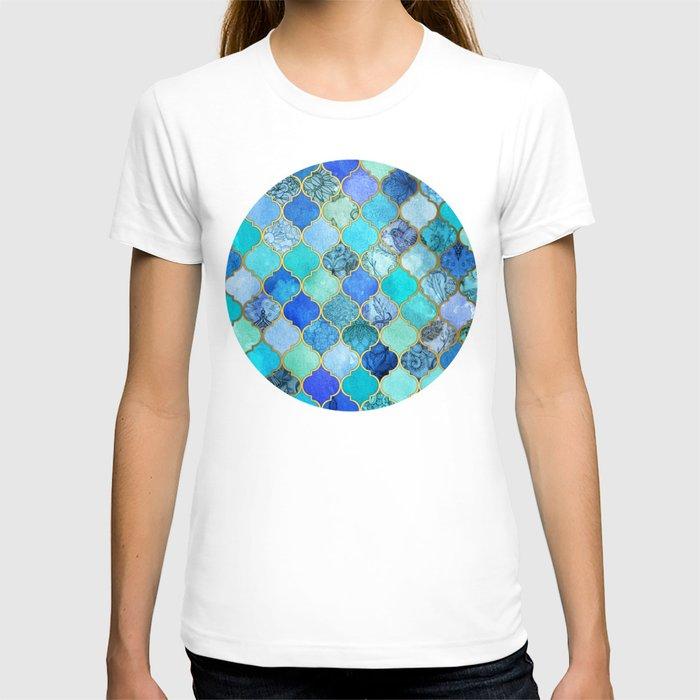 Cobalt blue aqua gold decorative moroccan tile pattern for Aqua blue color t shirt