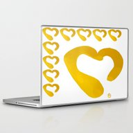 Gold Hearts On White - L… Laptop & iPad Skin