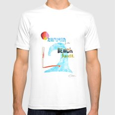 Summer at the Beach House White SMALL Mens Fitted Tee
