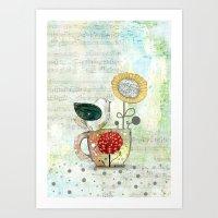 Bird On A Tea Cup Art Print