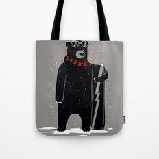 Bear on snowboard Tote Bag