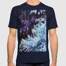 Turquoise Purple Leaves Mens Fitted Tee Navy SMALL