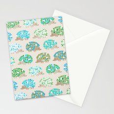 Hedgehog polkadot in green and blue Stationery Cards