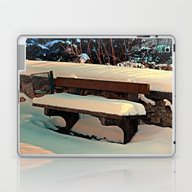 Snow Covered Bench Laptop & iPad Skin
