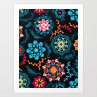 Suzani Inspired Pattern … Art Print