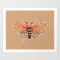 Un-Natural Selection: Carmine Stripee Halloween Moth Art Print
