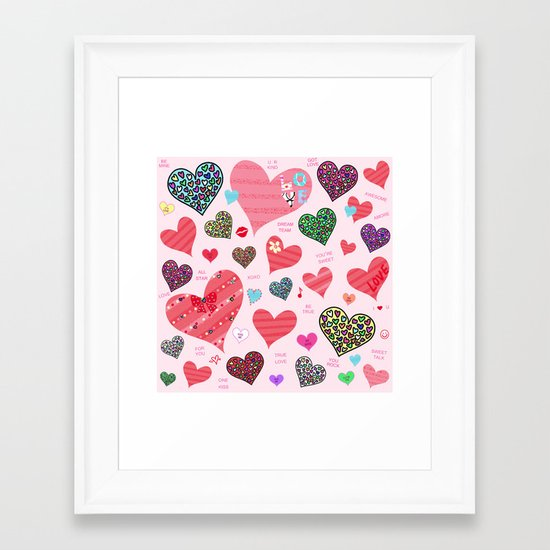 Candy Hearts Framed Art Print