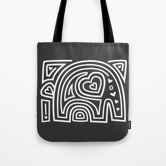 Mola Elephant (Black and White) Tote Bag
