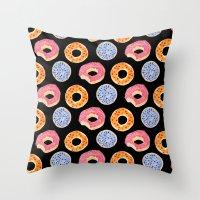 sweet things: doughnuts (black) Throw Pillow