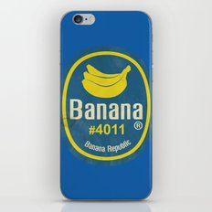 Banana Sticker On Blue iPhone & iPod Skin