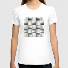 B/W crosshatch pattern Womens Fitted Tee White SMALL