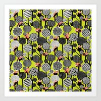 Red Panda Forest - Lime … Art Print