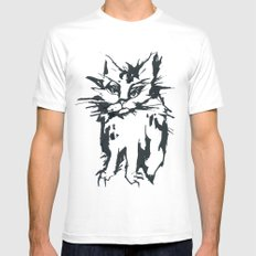 a threatening cat White SMALL Mens Fitted Tee
