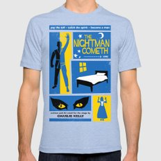 The Nightman Cometh Mens Fitted Tee Tri-Blue SMALL