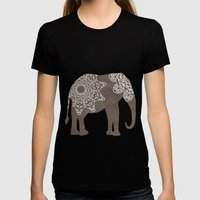 Brown Elephant Womens Fitted Tee Black SMALL
