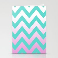 TEAL CHEVRON PINK FADE Stationery Cards
