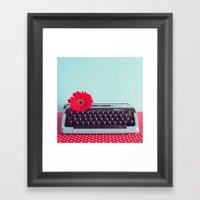 Retro art, typewriter and flower Framed Art Print