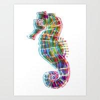 CMYK Seahorse Art Print