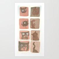 Expressive Cats Art Print