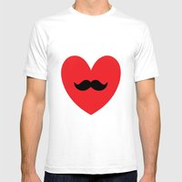 Mustache Heart Mens Fitted Tee White SMALL