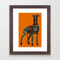 greyhound orange Framed Art Print