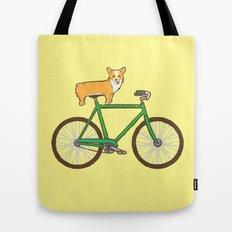 Corgi on a bike Tote Bag