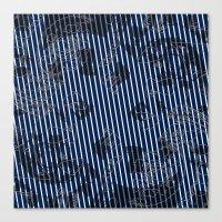 Blue grunge stripes on white background  Canvas Print