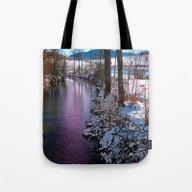 Quiet River In Winter Ti… Tote Bag