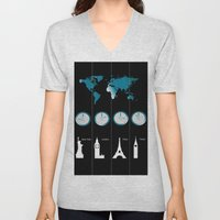 TIME ZONES. NEW YORK, LONDON, PARIS, TOKYO Unisex V-Neck