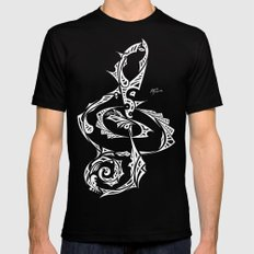 Treble Clef Mens Fitted Tee Black SMALL