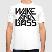 Wake And Bass (Black) Mens Fitted Tee White SMALL