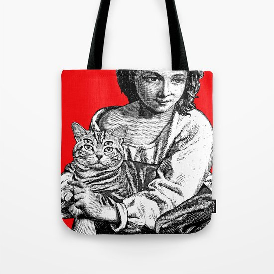 Young Girl with Cat Tote Bag
