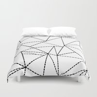 Abstract Dotted Lines Bl… Duvet Cover