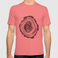 Tree Rings - Light Mens Fitted Tee Pomegranate SMALL