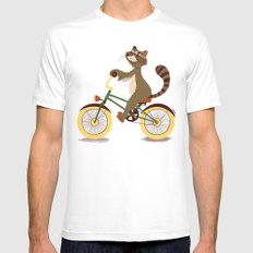 Raccoon on a bicycle SMALL Mens Fitted Tee White