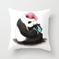 Christmas Panda Throw Pillow